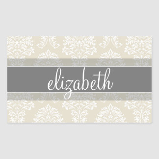 Gray and Linen Vintage Damask Pattern with Name Rectangular Sticker