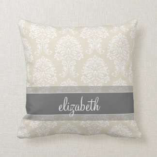 Gray and Linen Vintage Damask Pattern with Name Throw Pillow