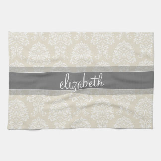 Gray and Linen Vintage Damask Pattern with Name Towel