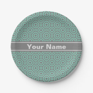 Gray and Lucite Green Nested Octagon Paper Plate