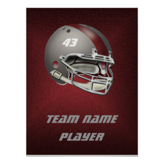 Gray and Maroon Football Helmet Print