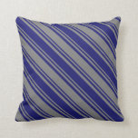 [ Thumbnail: Gray and Midnight Blue Colored Pattern Pillow ]