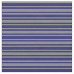 [ Thumbnail: Gray and Midnight Blue Striped Pattern Fabric ]