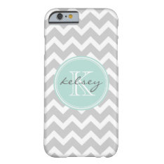 Gray And Mint Chevron Custom Monogram Barely There Iphone 6 Case at Zazzle