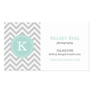 Gray and Mint Chevron Custom Monogram Business Card Templates