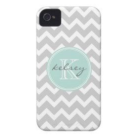 Gray and Mint Chevron Custom Monogram Case-Mate iPhone 4 Cases