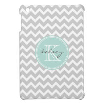Gray and Mint Chevron Custom Monogram Cover For The iPad Mini