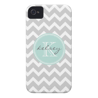 Gray and Mint Chevron Custom Monogram iPhone 4 Case