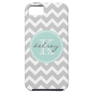 Gray and Mint Chevron Custom Monogram iPhone SE/5/5s Case