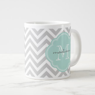 Gray and Mint Chevron Custom Monogram Large Coffee Mug