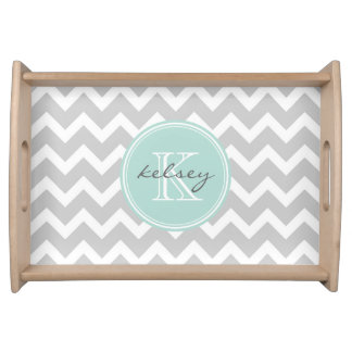 Gray and Mint Chevron Custom Monogram Serving Tray