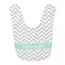 Gray and Mint Chevron Monogram Baby Bib