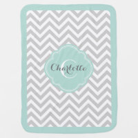 Gray and Mint Chevron Monogram Receiving Blanket