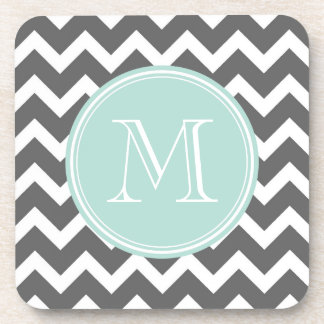 Gray and Mint Chevron with Custom Monogram Drink Coaster