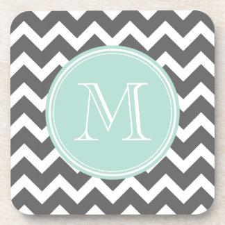 Gray and Mint Chevron with Custom Monogram Drink Coaster