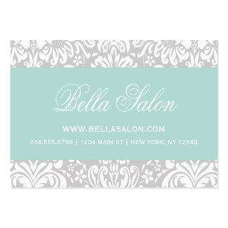 Gray and Mint Elegant Floral Damask Large Business Card