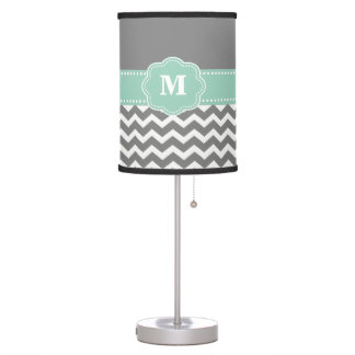 Gray and Mint Green Chevron Monogram Lamp Shade