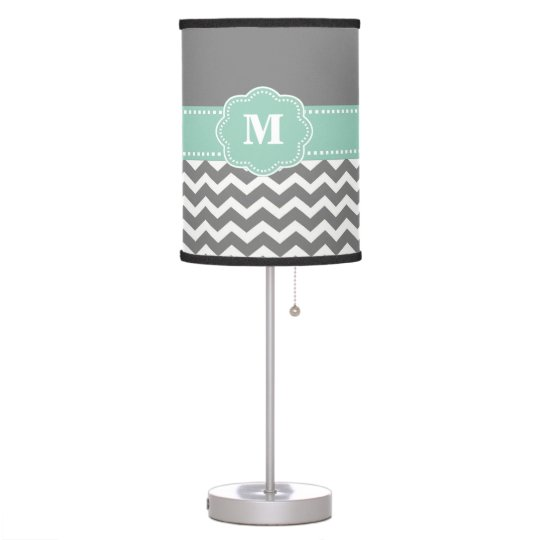 Gray and mint green chevron monogram lamp shade zazzle gray and mint green chevron monogram lamp shade mozeypictures Images