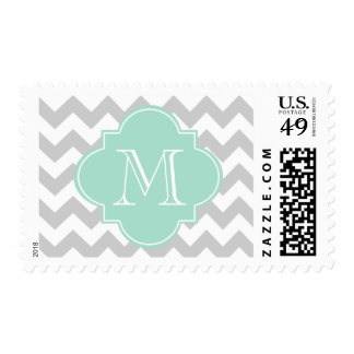 Gray and Mint Green Chevron With Custom Monogram Stamp