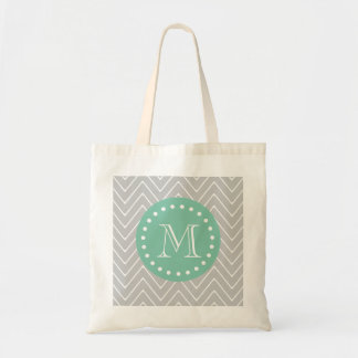 Gray and Mint Green Modern Chevron Monogram Budget Tote Bag