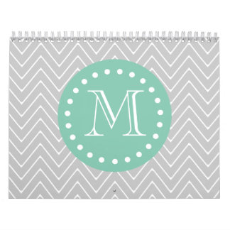 Gray and Mint Green Modern Chevron Monogram Wall Calendar