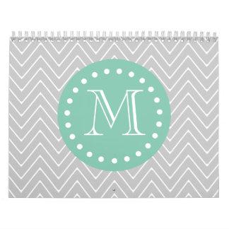 Gray and Mint Green Modern Chevron Monogram Calendar