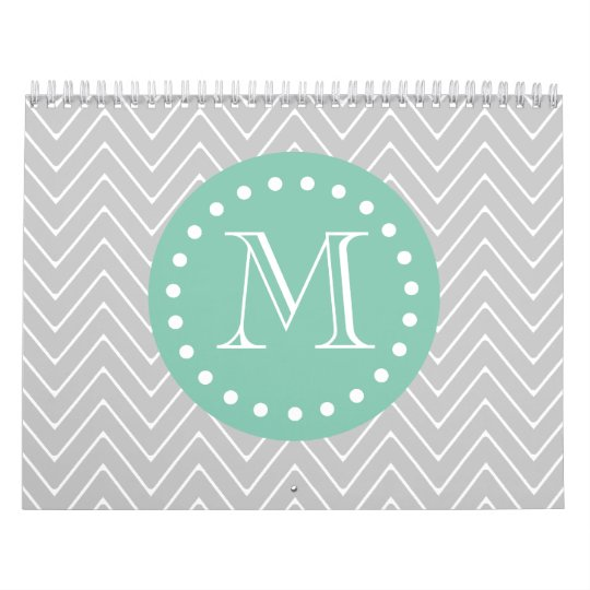 Gray and Mint Green Modern Chevron Monogram Calendar