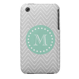 Gray and Mint Green Modern Chevron Monogram iPhone 3 Case-Mate Cases