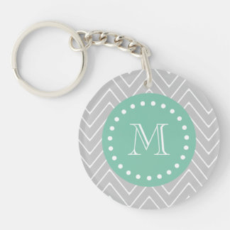 Gray and Mint Green Modern Chevron Monogram Double-Sided Round Acrylic Keychain