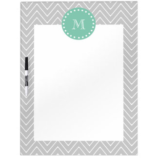 Gray and Mint Green Modern Chevron Monogram Dry-Erase Board