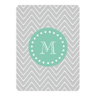 Gray and Mint Green Modern Chevron Monogram 5.5x7.5 Paper Invitation Card