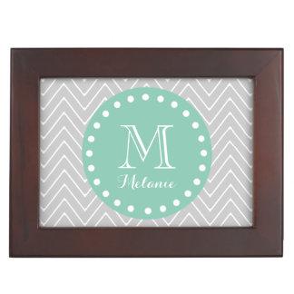 Gray and Mint Green Modern Chevron Monogram Memory Box