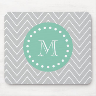 Gray and Mint Green Modern Chevron Monogram Mouse Pad