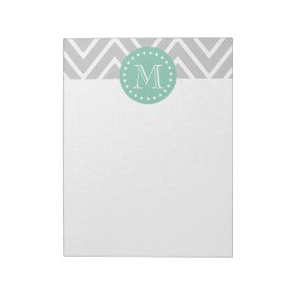 Gray and Mint Green Modern Chevron Monogram Note Pad
