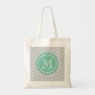 Gray and Mint Green Modern Chevron Monogram Tote Bag