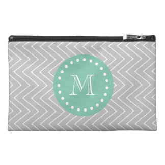 Gray and Mint Green Modern Chevron Monogram Travel Accessory Bag