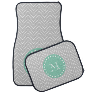 Gray and Mint Green Modern Chevron Monogram Floor Mat