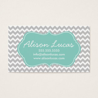 Gray and Mint Green Modern Chevron Stripes Business Card