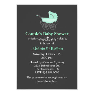 Gray and Mint Green Vintage Couple's Baby Shower Card