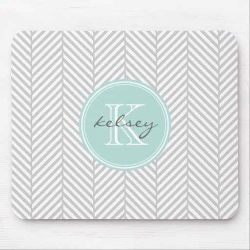 Gray and Mint Herringbone with Custom Monogram Mouse Pad