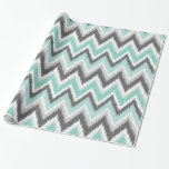 Gray and Mint Ikat Chevron Gift Wrap Paper