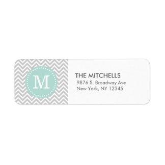 Gray and Mint Modern Chevron Custom Monogram Return Address Labels