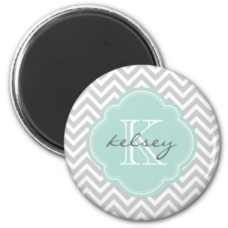 Gray and Mint Modern Chevron Custom Monogram Magnet