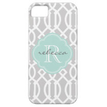 Gray and Mint Modern Trellis Custom Monogram iPhone 5 Covers at  Zazzle