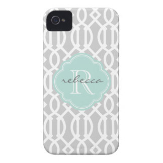 Gray and Mint Modern Trellis Custom Monogram iPhone 4 Case-Mate Case
