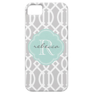 Gray and Mint Modern Trellis Custom Monogram iPhone SE/5/5s Case