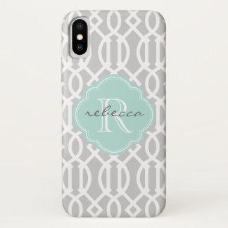Gray and Mint Modern Trellis Custom Monogram iPhone X Case