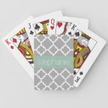 "Gray and Mint Quatrefoil Pattern Custom Name Playing Cards<br><div class=""desc"">A funky and graphic design with an area for monograms or names. If you need to adjust the artwork or change the font,  you can click on the customize area. This will take you to the design tool where you can make many changes.</div>"