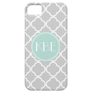 Gray and Mint Quatrefoil with Custom Monogram iPhone SE/5/5s Case