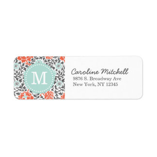 Gray and Mint Retro Floral Damask Custom Monogram Label